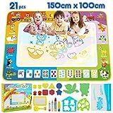 lenbest Super Groß Aqua Magic Doodle Matte, 150 * 100cm Wasser Doodle Malmatte mit 2 Tiervorlage & Werkzeuge Rolle Stempel & Vielfältiges Zubehör, Mehrere Farbbereiche Spielzeug-Geschenk für Kinder