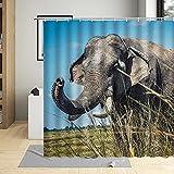 Duschvorhang Anti-Schimmel Afrikanischer Tier Prärieelefant Shower Curtain Textil Vorhang Duschrollo mit 12 Duschvorhangringen 3D Digitaldruck waschbar 180x180 cm