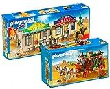 Playmobil 4398 Cowboy-Set, tragbar + 4399 – Diligence