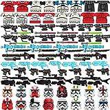 HEDI Waffen Set, Minifiguren Maske, Helm und Laserschwertern, Custom Sci-fi Waffe Set Kompatibel Mit Star Wars Lego Figuren Soldaten