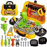 AOLEVA 23 Stück Kinder Werkzeug Spielzeug Werkzeugkasten Werkbank Werkzeugkoffer Handwerker Set Rollenspiel für Jungen Mädchen ab 3 Jahren