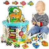 HYAKIDS 11 in 1 Dinosaurier Motorikwürfel Aktivitätswürfel aus Holz Spielzeug mit Perlenlabyrinth, Magnetisches Angelspiel Holzwürfel Spielzeug für Kinder Kleinkind