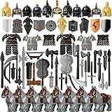 JIKE Custom Militär Helm Und Waffen Set,Antikes Griechenland Rom Ägypten Pistole Waffen Rüstungshelm Bausatz,Kompatibel mit Lego Waffen Minifiguren Set(71Teile)