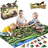 INNOCHEER Dinosaurier Spielzeug Set, Figur Dinosaurier mit Aktivität Spielmatten und Bäume, Einschließlich T-Rex,Triceratops,Pterosauria, Jurassic World Dinosaurier Spielzeug Groß für Kinder