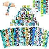 Schnapparmband Kinder,35 Stück Dinosaurier Slap Armband,Snap Armbänder,Bunte Slap Bands,Bunte Schnapparmbänder,Dino Armband Kinder,Klapparmband Kinder Junge,Klatscharmband Kindergeburtstag Mitgebsel