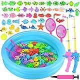 GOLDGE Angeln Spielzeug 52 Stück Badespielzeug Badewannenspielzeug Wasserspiel Perfekt Lernspiel Geschenk für Kleinkinder Kindern Spielzeug