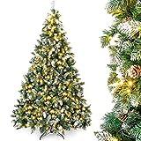 Yorbay künstlicher Weihnachtsbaum mit Beleuchtung weiß Schnee LED Tannenbaum für Weihnachten-Dekoration (210CM)